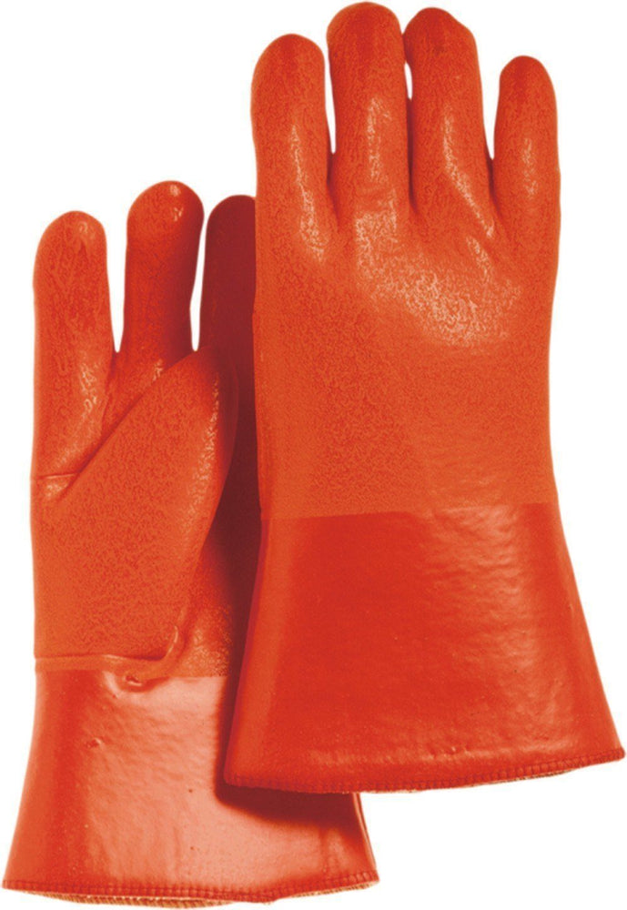 "Majestic 3374 Orange PVC Dipped Gloves Sand Finish Foam Lined 12"" (DOZEN) - Global Construction Supply"