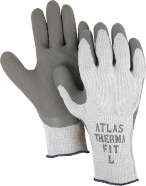 Gloves - Majestic 3388 Atlas ThermaFit 451 Gloves Gray Rubber Coated Wrinkled Palm Lined (DZ)