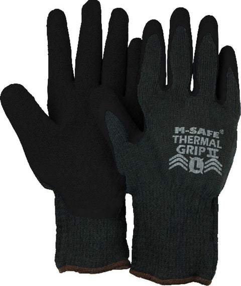 Majestic 3388BK M-Safe Thermal Grip Blue Knit Gloves Black Rubber Palm Dipped Lined (DOZEN) - Global Construction Supply