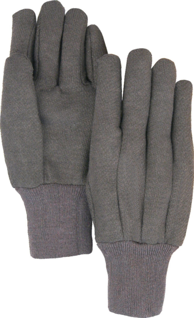 Majestic 3401B 8oz Cotton/Poly Brown Jersey Knit Gloves (DOZEN) - Global Construction Supply