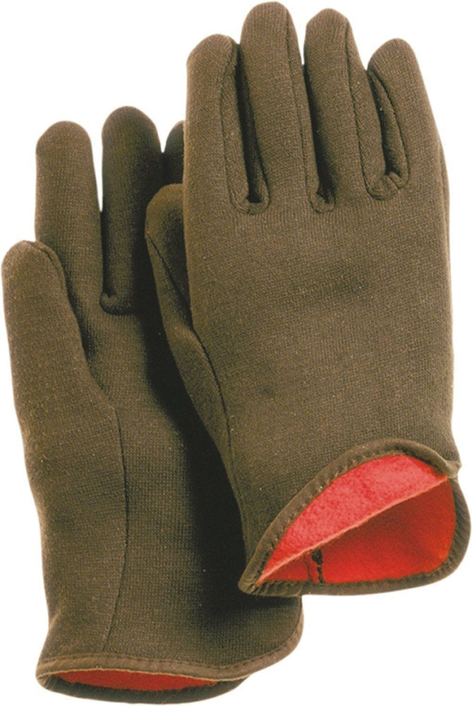 Majestic 3421 Brown Jersey Knit Gloves Red Fleece Lined (DOZEN) - Global Construction Supply
