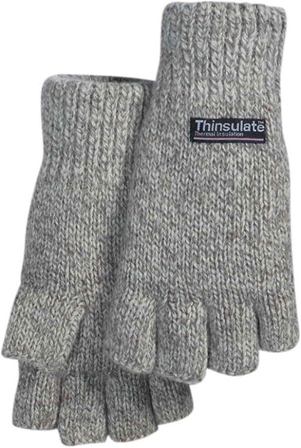 Majestic 3424 Ragg Wool Knit Gloves 2ply Fingerless Hood Thinsulate Lined (DOZEN) - Global Construction Supply