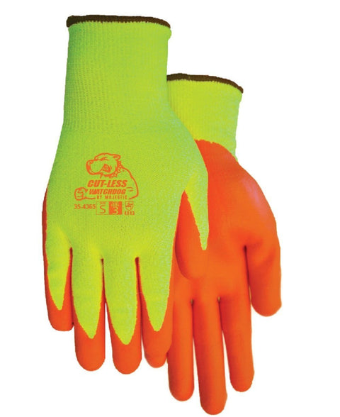 Majestic 35-4365 HPPE Hi Vs Yellow Cut-Less WatchDog Cut Resistant Gloves Nitrile Palm Cut 3 (DOZEN): Global Construction Supply