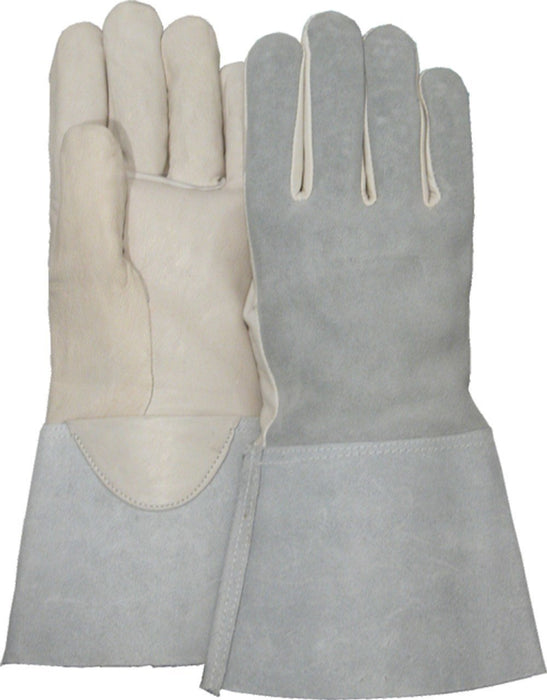 Majestic 3506G Goatskin Palm Leather Gloves Cowsplit Back Tig Welders Gauntlet Cuff (DOZEN): Global Construction Supply