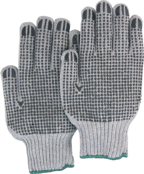 Majestic 3829G Heavy Duty String Knit Gloves Pvc Dots Gray (DOZEN): Global Construction Supply