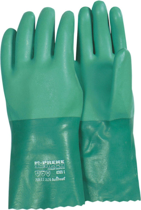 Majestic 4005 Green Neoprene Gloves Double Dip Sand Finish 12 inch Interlock Lined (DOZEN): Global Construction Supply