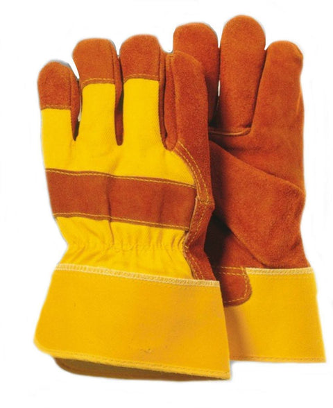 Majestic 4501Y Split Cowhide Leather Work Gloves Safety Cuff Yellow/Brown (DOZEN): Global Construction Supply