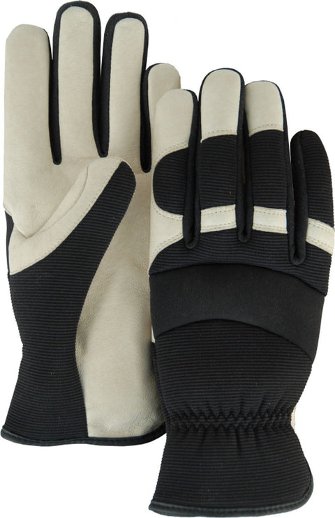Majestic Bald Eagle 2152D Beige Pigskin Leather Palm Mechanic Style Gloves Black Stretch Back (DOZEN): Global Construction Supply