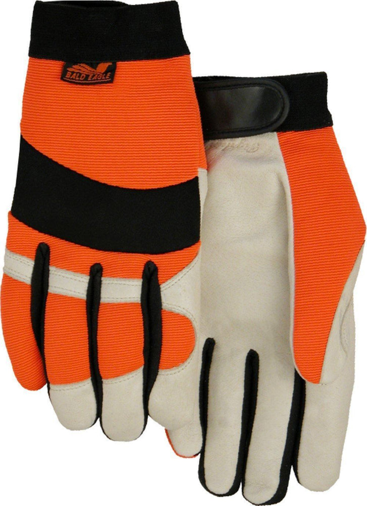 Majestic Bald Eagle 2152HV Hi Vis Orange Stretch Back Beige Pigskin Leather Palm Mechanic Style Gloves (DOZEN): Global Construction Supply