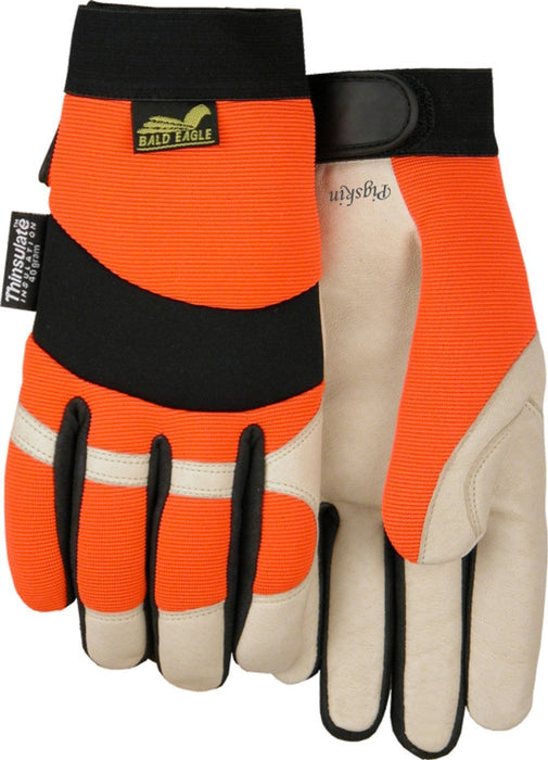 Majestic Bald Eagle 2152THV Hi Vis Orange Stretch Back Beige Pigskin Palm Mechanic Style Gloves Thinsulate Lined (DOZEN): Global Construction Supply