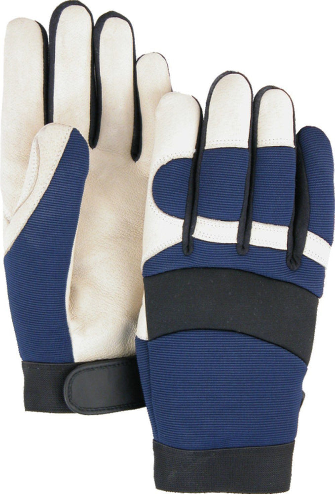 Majestic Bale Eagle 2152T Beige Pigskin Palm Mechanic Style Gloves Blue Stretch Back Thinsulate Lined (DOZEN): Global Construction Supply