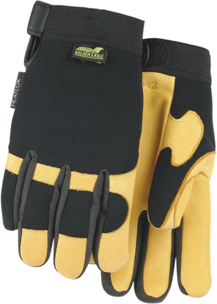 Majestic Golden Eagle 2150H Gold Deerskin Leather Palm Mechanic Style Gloves Heatlok Lined (DOZEN): Global Construction Supply