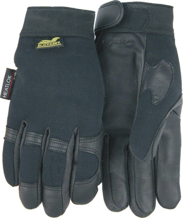 Majestic Golden Eagle 2151H Black Deerskin Leather Palm Mechanic Style Gloves Heatlok Lined (DOZEN): Global Construction Supply