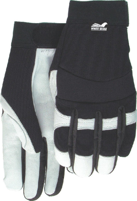 Majestic Kids' White Eagle 2153-S White Goatskin Leather Palm Gloves Black Knit Back (DOZEN): Global Construction Supply