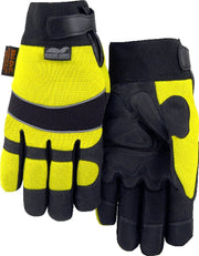 Majestic Winter Hawk 2145HYH Hi Vis Yellow Armor Skin Mechanic Style Gloves (PAIR): Global Construction Supply