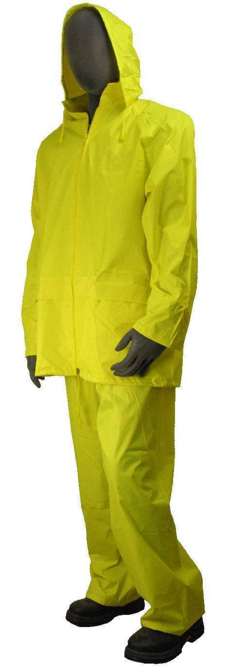 Majestic 71-2040 Bright Yellow Poly/PVC Coated Rainsuit Pants and Jacket: Global Construction Supply