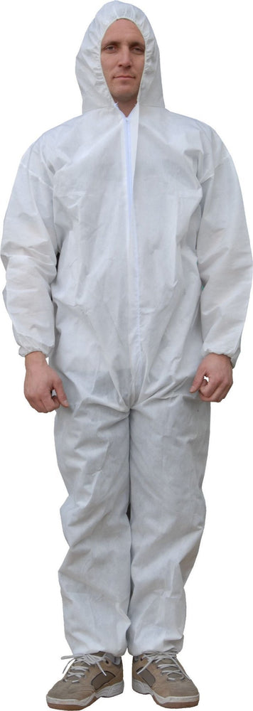 Majestic 74-302 ResisTEX PP/CPE Coated Coverall Elastic Wrist/Ankles Attached Hood (CASE): Global Construction Supply