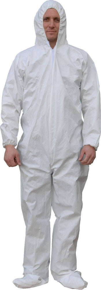 Majestic 74-303 ResisTEX PP/CPE Coated Coverall Elastic Wrist/Ankles Attached Hood/Boots (CASE): Global Construction Supply