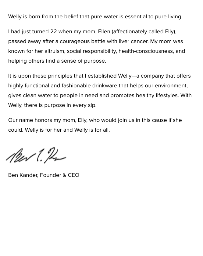 Note from Welly Founder who started the company in memory of his mother