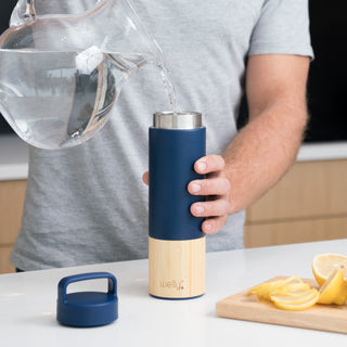 welly-bottle Insulated Infusing Bamboo Water Bottle Fresh Lemon Water Hydrate Navy Traveler 18 oz