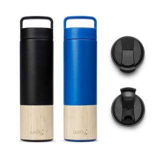 Adventure Bundle Blue one tall black water bottle and one blue water bottle with bamboo bases and two black flip caps