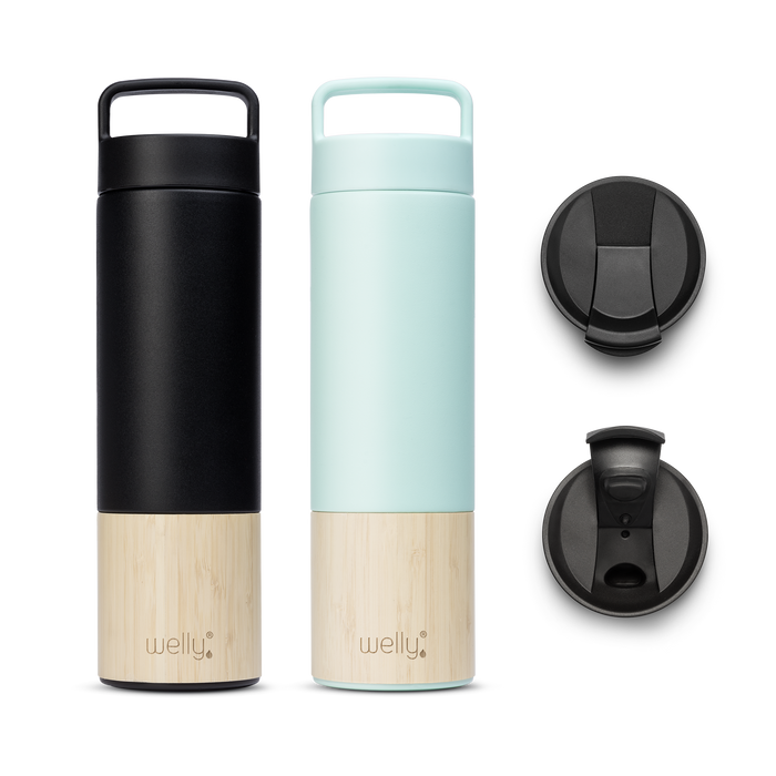 Adventure Bundle Mint one tall black water bottle and one mint water bottle with bamboo bases and two black flip caps