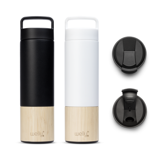 Adventure Bundle White one tall black water bottle and one white water bottle with bamboo bases and two black flip caps