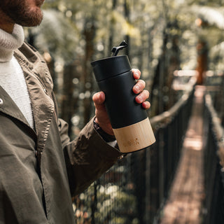 welly-bottle Insulated Infusing Bamboo Water Bottle Coffee Tea Mug Bridge Drink Black Traveler 12 oz