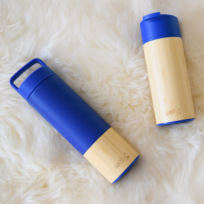 welly-bottle Insulated Infusing Bamboo Water Bottle for Hiking Travel Fitness Blue Traveler 18 oz