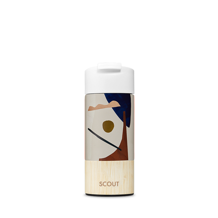 Travel mug with abstract organic shape design bamboo base and the name Scout engraved on the side