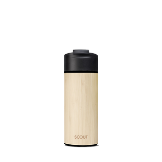 Coffee mug with bamboo exterior and black flip cap and the name Scout engraved