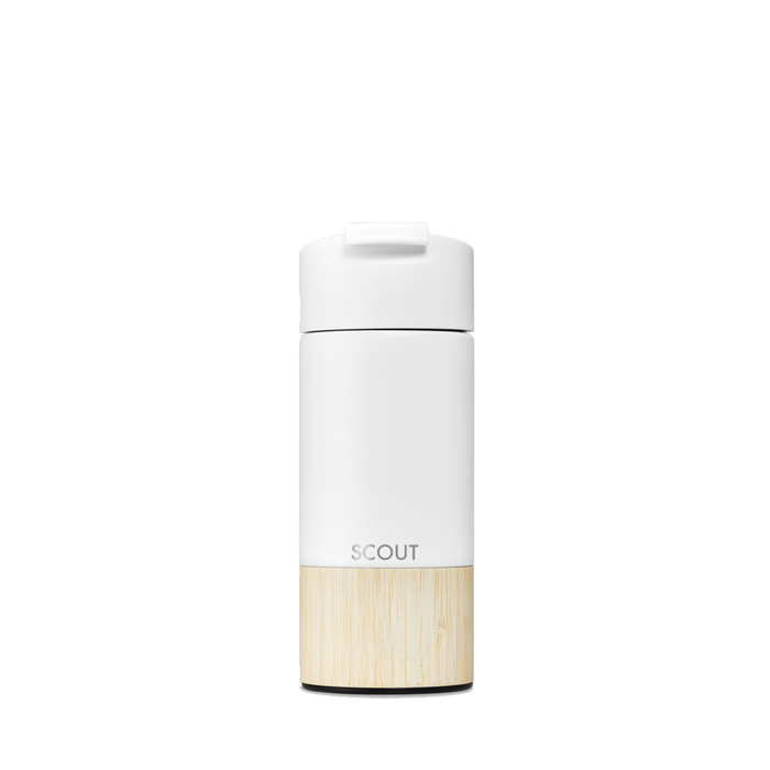 White travel mug with bamboo base and the name Scout engraved on the side