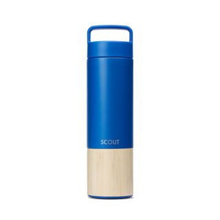 Tall blue water bottle with bamboo base and the name Scout engraved on the side