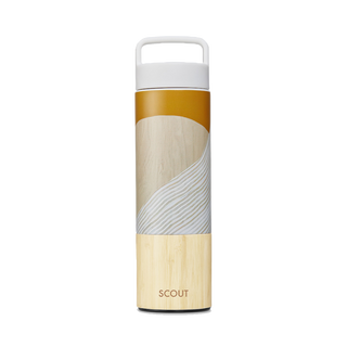 Tall water bottle with abstract golden sun and bamboo base and the name Scout engraved on the side