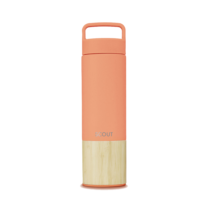 Tall coral water bottle with bamboo base and the name Scout engraved on the side
