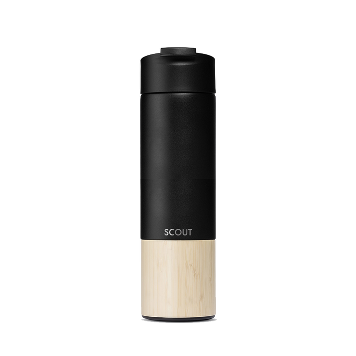 Tall black water bottle with bamboo base and flip cap and the name Scout engraved on the side