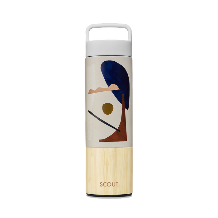 Tall water bottle with abstract organic shapes and bamboo base and the name Scout engraved on the side