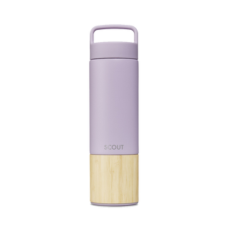 Tall pale purple water bottle with bamboo base and the name Scout engraved on the side