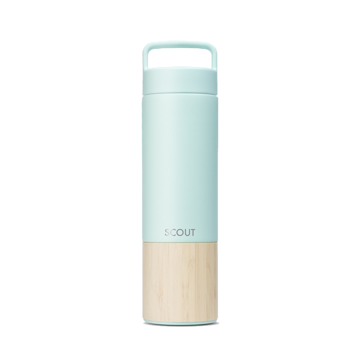 Tall pale green water bottle with bamboo base and the name Scout engraved on the side