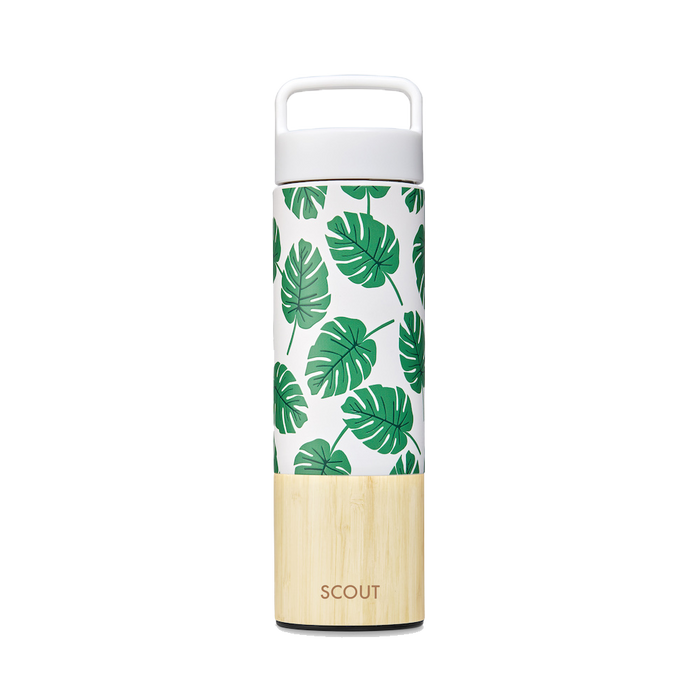 Tall  water bottle with monstera pattern and bamboo base and the name Scout engraved on the side