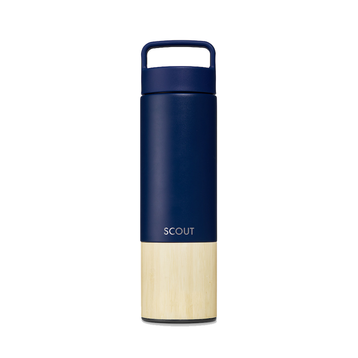 Tall navy water bottle with bamboo base and the name Scout engraved on the side