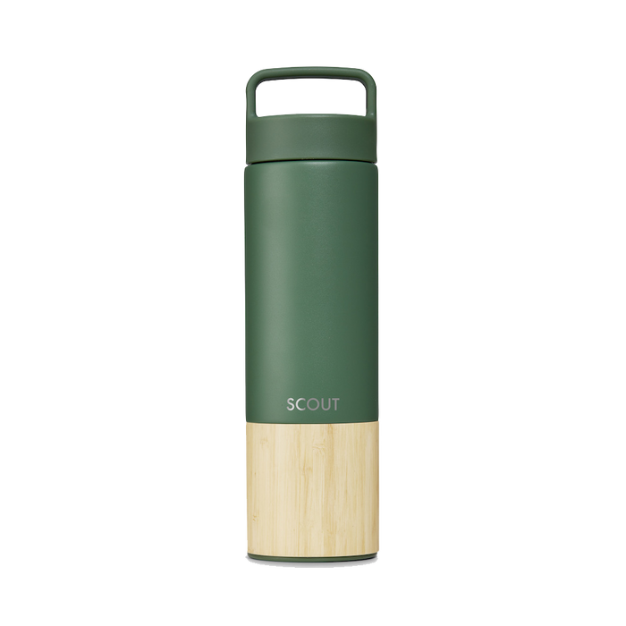 Tall sage green water bottle with bamboo base and the name Scout engraved on the side