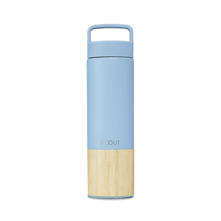 Tall pale blue water bottle with bamboo base and the name Scout engraved on the side