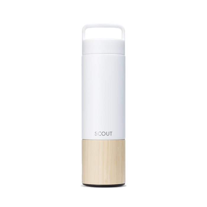 Tall white water bottle with bamboo base and the name Scout engraved on the side