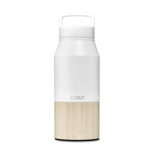 Tall white water bottle with bamboo base and loop cap and the name Scout engraved on the side