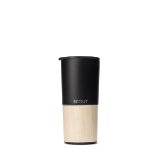 Tall black coffee tumbler with bamboo base and the name Scout engraved on the side