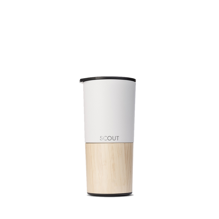 Tall white coffee tumbler with bamboo base and the name Scout engraved on the side