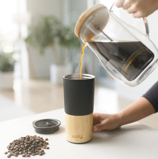 welly-bottle Pouring fresh coffee into insulated bamboo coffee tea tumbler Black Tumbler, Black 16oz, Black 16oz Tumbler, White Tumbler, White 16oz, White 16oz Tumbler, Black-16oz, White-16oz
