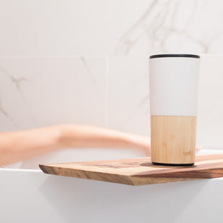 welly-bottle Relaxing spa bath with minimalist insulated bamboo tea tumbler White Tumbler, White 16oz, White 16oz Tumbler, White 16 oz, Black 16 oz, Black Tumbler, Black 16oz, Black 16oz Tumbler, White 16oz, , White-16 oz, Black-16 oz