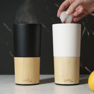 welly-bottle Insulated Bamboo Coffee Tea Tumbler Mug Black 16oz, White 16oz | Hover_Image
